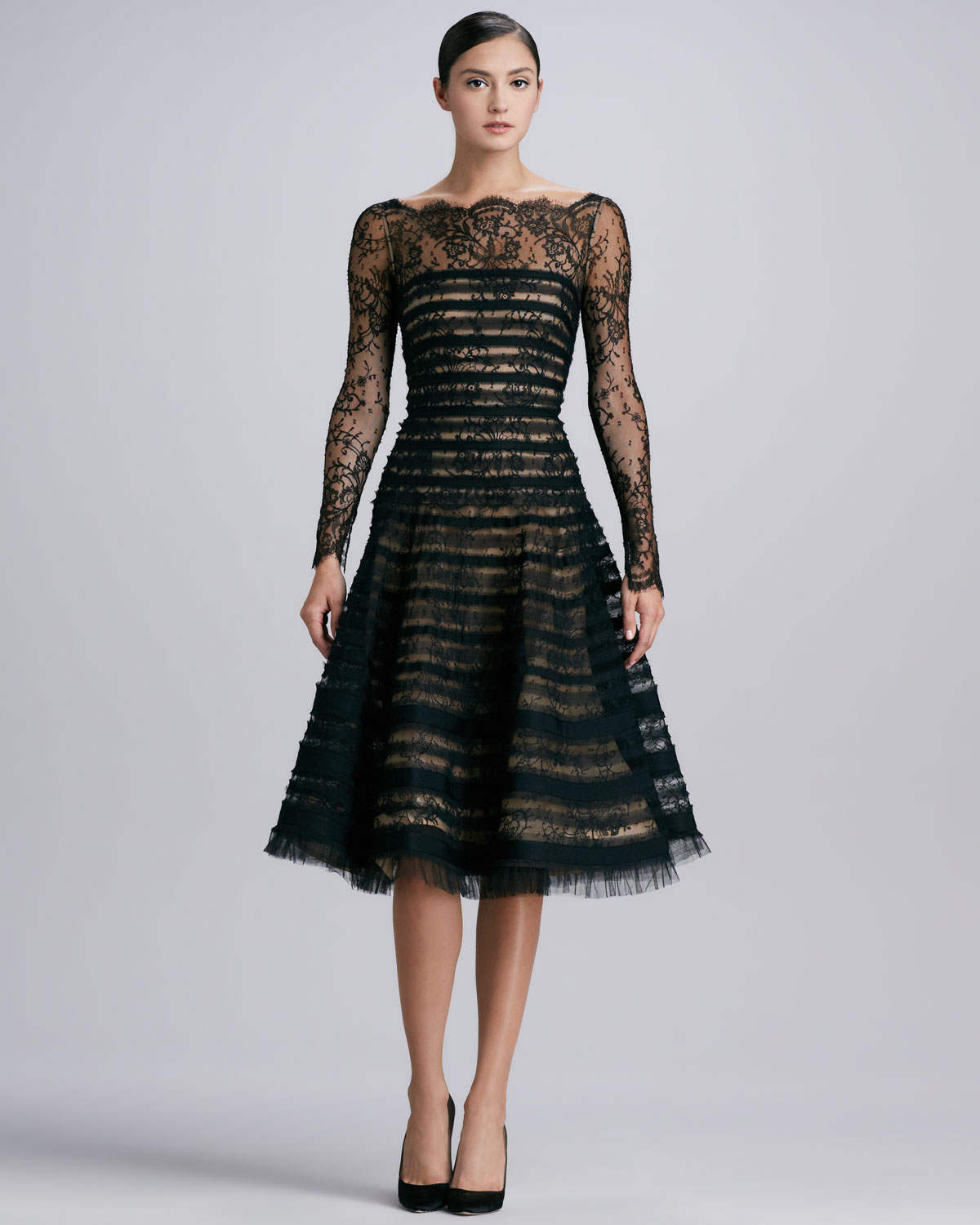 Oscar De La Renta Ribbonstriped Lace Dress Black Lyst
