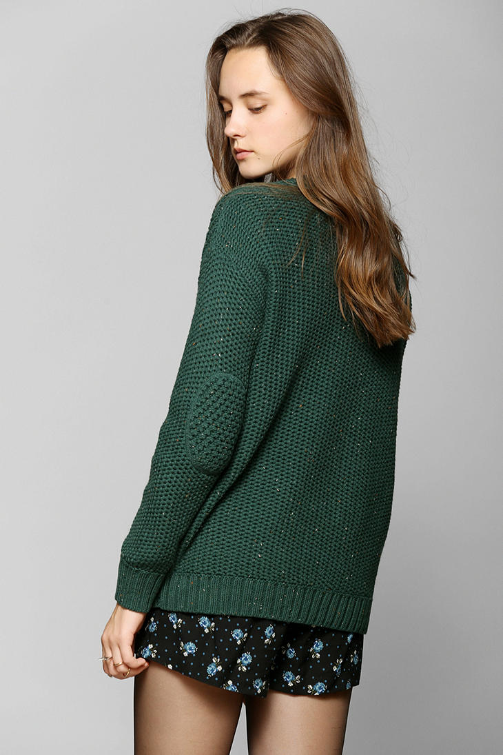 Urban Outfitters Fall For Cable Knit Sweater In Dark Green