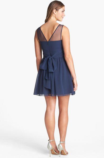 Bcbgmaxazria Silk Fit Amp Flare Dress In Blue Dark Ink Lyst