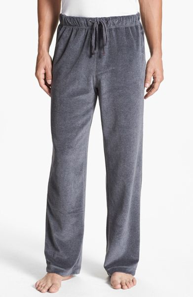 Daniel Buchler Velour Lounge Pants In Gray For Men