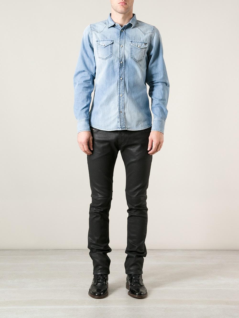 Lyst Diesel Waxed Denim Jeans In Black For Men