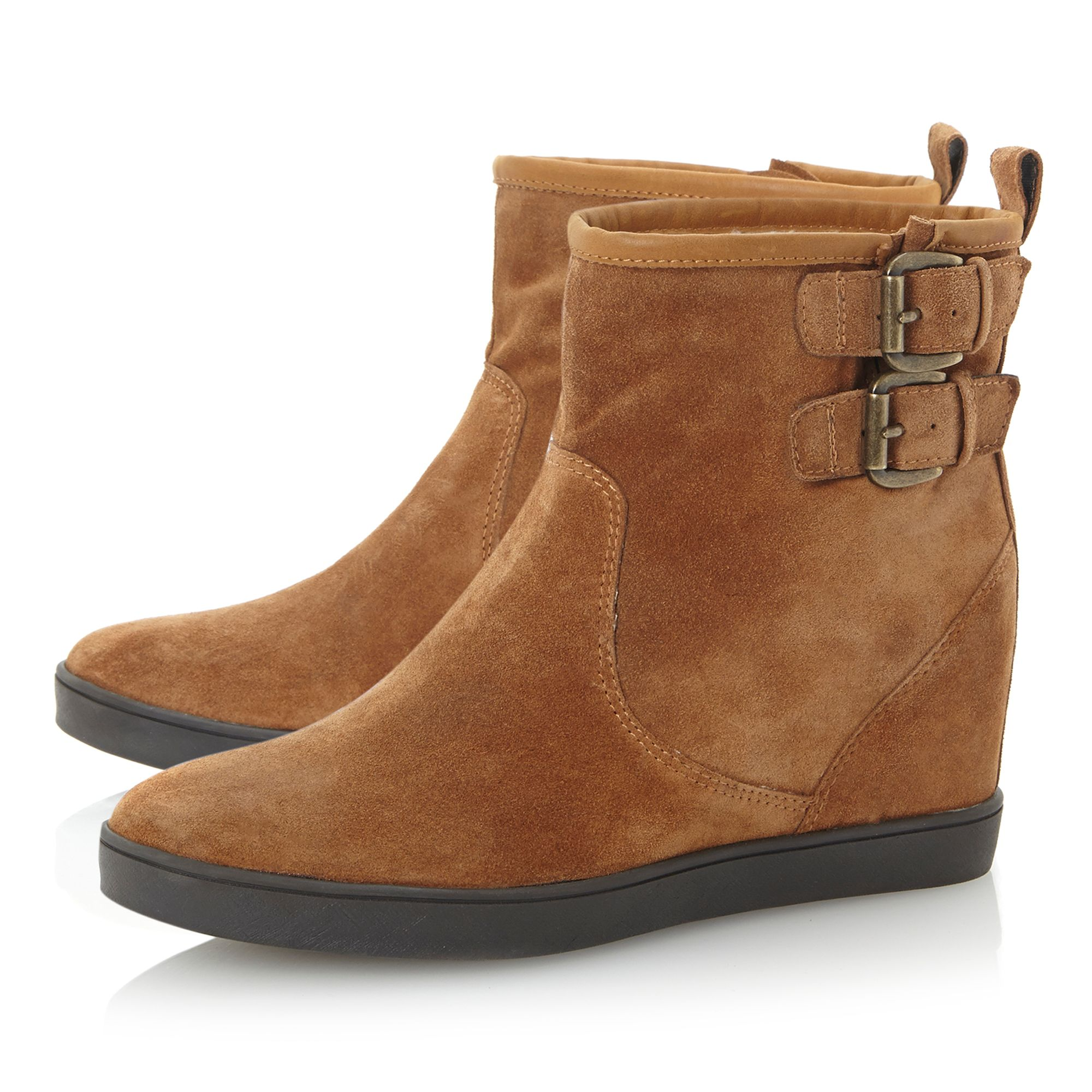Dune Suede Prowl Concealed Wedge Boots in Tan (Brown)
