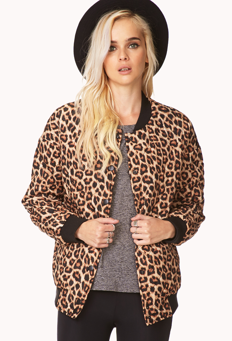 08617951c838 Forever 21 Quilted Leopard Bomber Jacket - Lyst