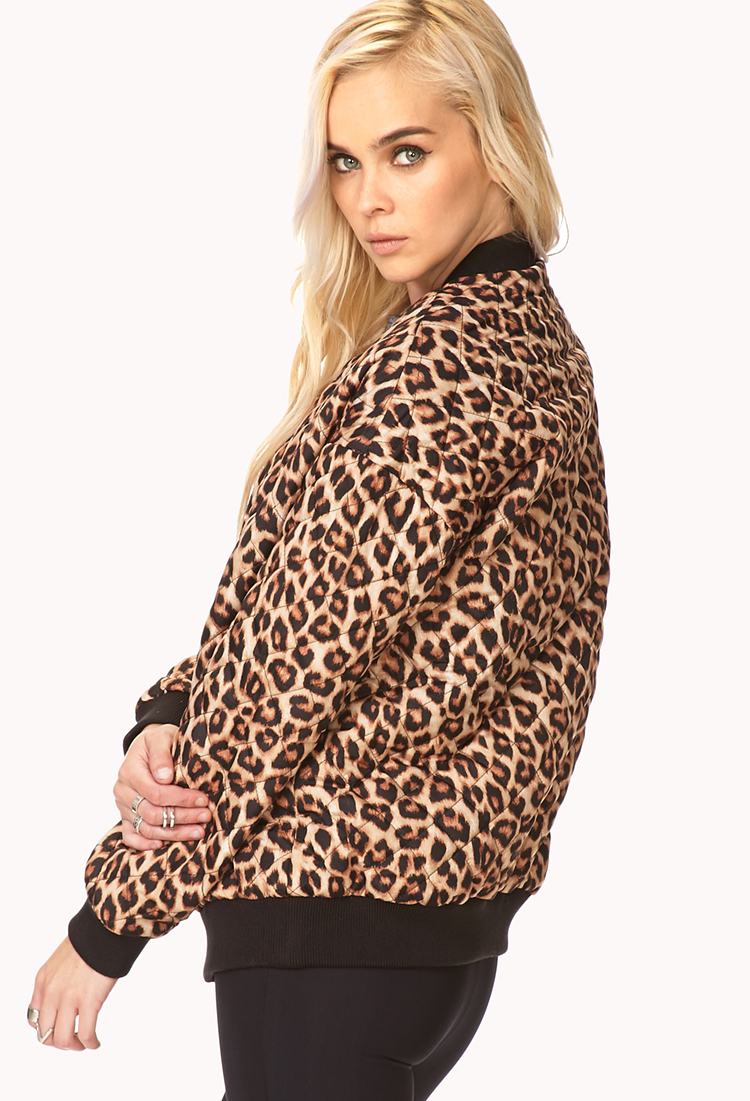 Forever 21 Quilted Leopard Bomber Jacket | Lyst