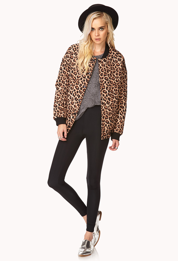 Forever 21 Quilted Leopard Bomber Jacket Lyst