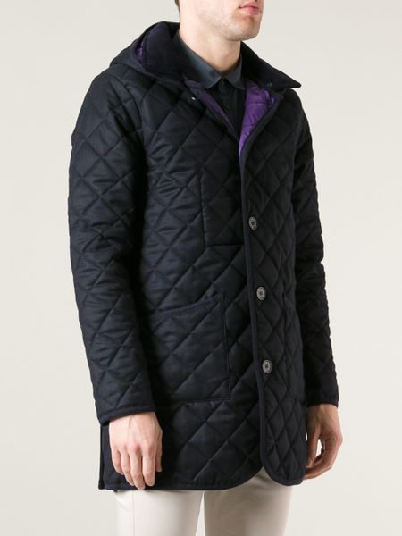 Mackintosh Long Quilted Coat In Blue For Men Lyst