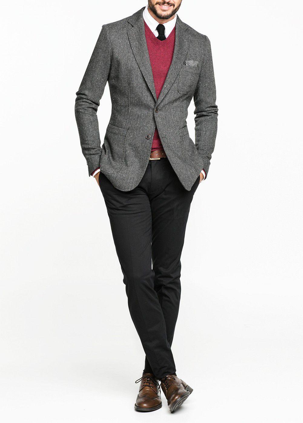 Mango Herringbone Woolblend Blazer in Grey (Grey) for Men