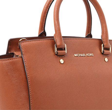 michael kors selma large ziptop satchel in brown luggage lyst. Black Bedroom Furniture Sets. Home Design Ideas