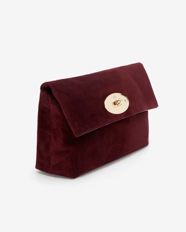 990b4d5c5e61 Lyst - Mulberry Oversized Suede Clemmie Clutch Ox Blood in Purple