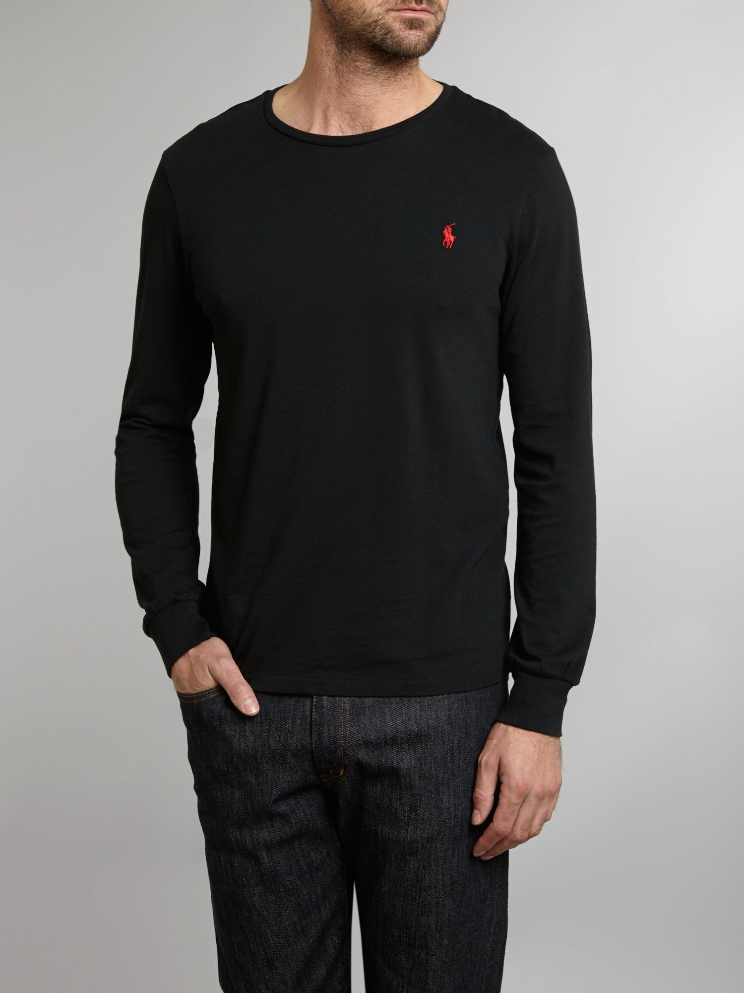 polo ralph lauren long sleeve custom fit crew neck tshirt in black for men lyst. Black Bedroom Furniture Sets. Home Design Ideas