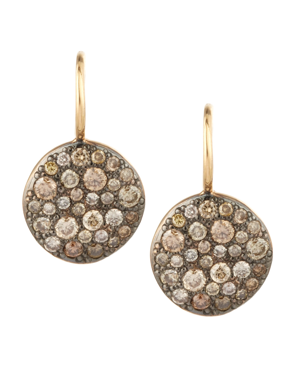 Pomellato Sabbia Brown Pave Diamond Earrings In