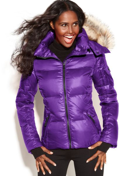 Sam Hooded Fauxfurtrim Quilted Puffer In Purple Grape