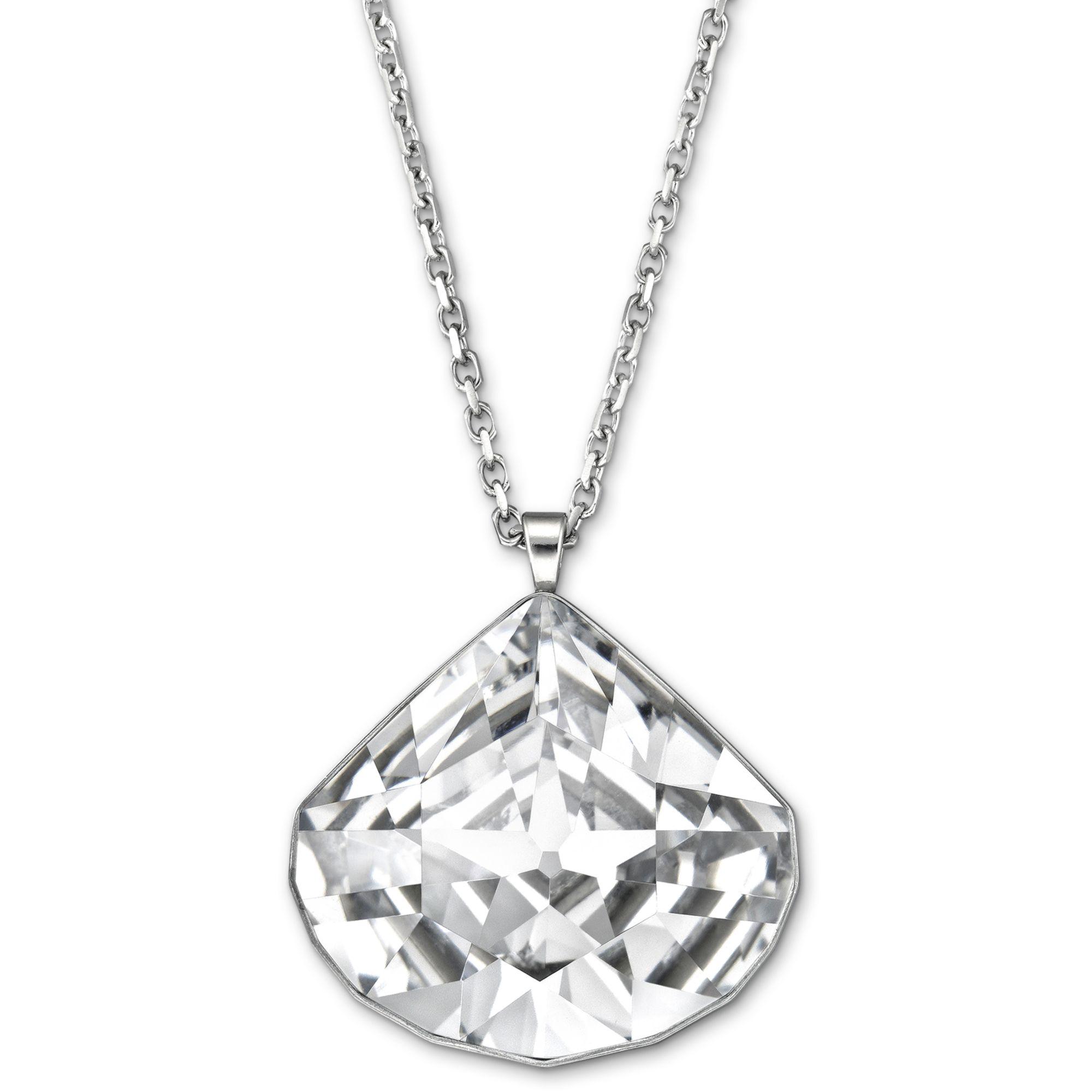 swarovski via long pendant in metallic