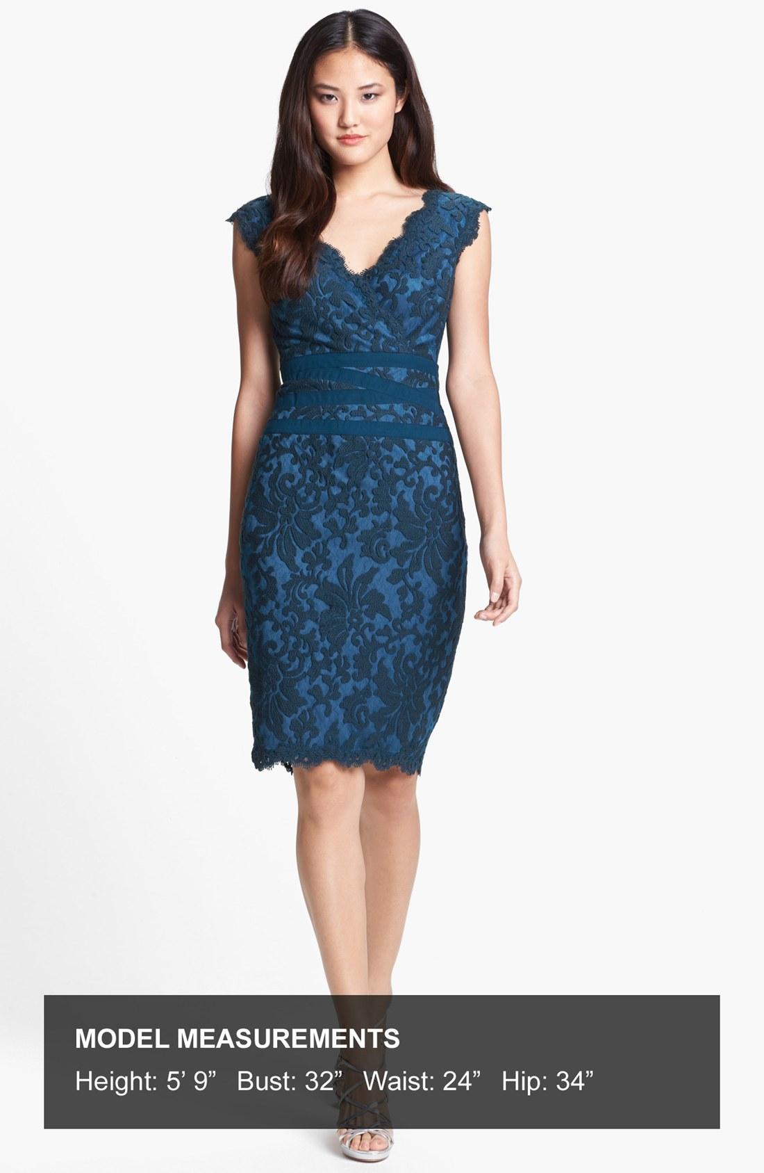Tadashi shoji embroidered lace sheath dress in blue