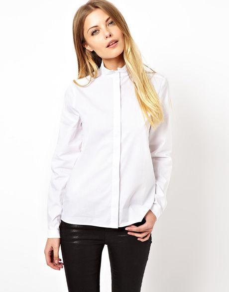 Asos Shirt With Grandad Collar In White Lyst