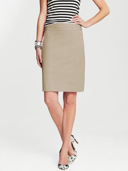 banana republic sloan pencil skirt in khaki fall khaki