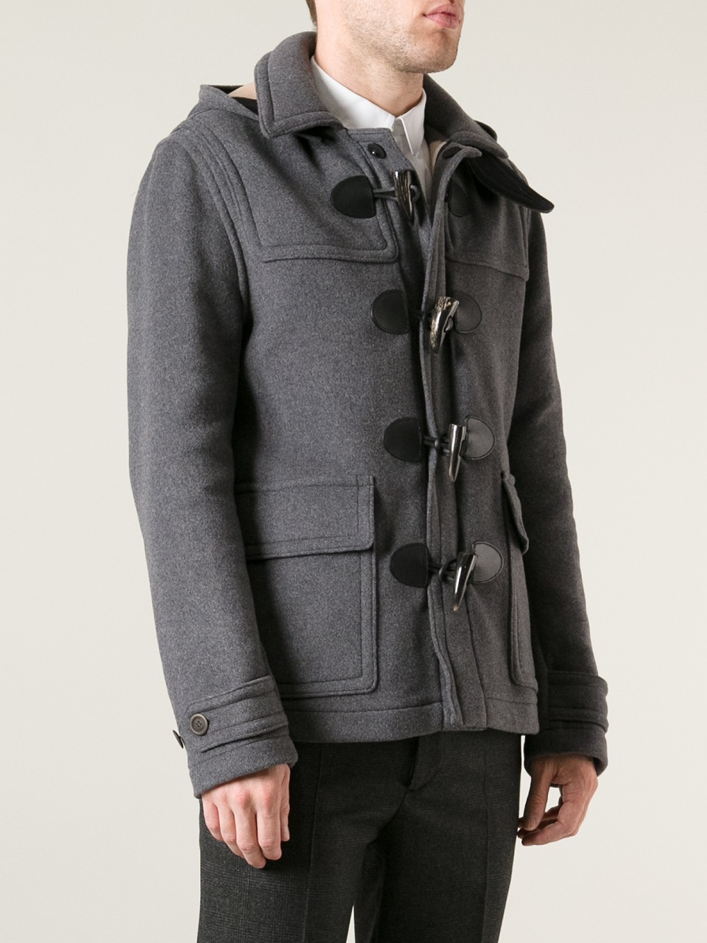 burberry brit montgomery duffle coat in gray for men lyst. Black Bedroom Furniture Sets. Home Design Ideas