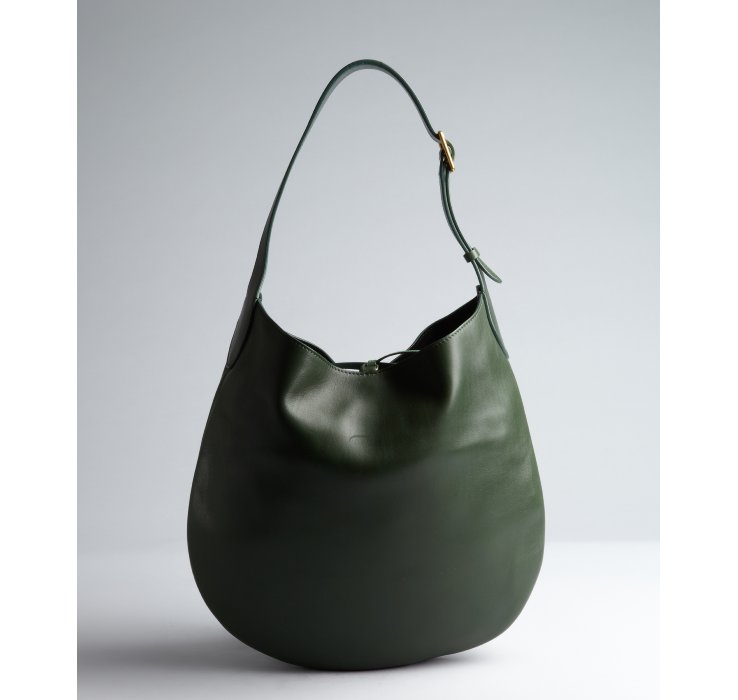 C¨¦line Hunter Leather Tie Top Hobo Bag in Green | Lyst