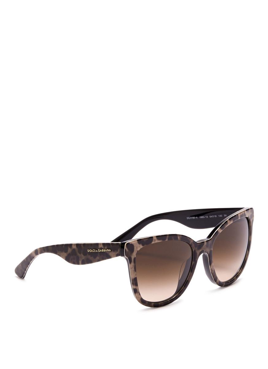 Dolce Amp Gabbana Leopard Print Cat Eye Sunglasses In Brown