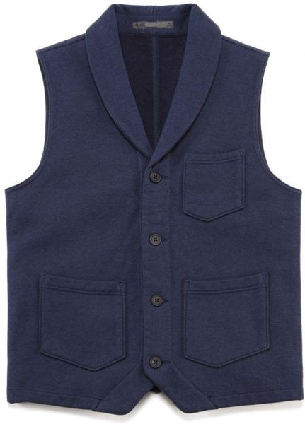 Knitting Pattern For Shawl Collar Vest : Onassis Clothing Shawl Collar Knit Vest in Blue for Men (Heather Blue) Lyst