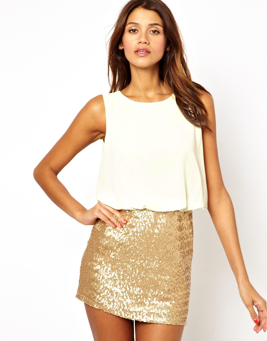 Tfnc Dress with Blouson Top and Sequin Skirt in Gold ...
