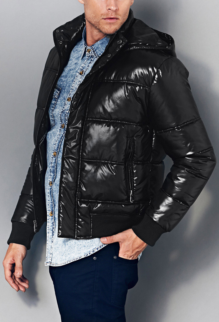 Lyst Forever 21 Coated Puffer Jacket In Black For Men