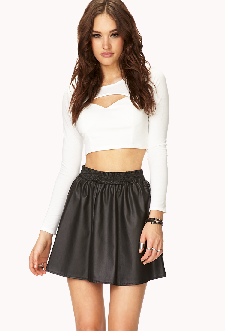 Forever 21 Gone Chic Faux Leather Skirt in Black | Lyst