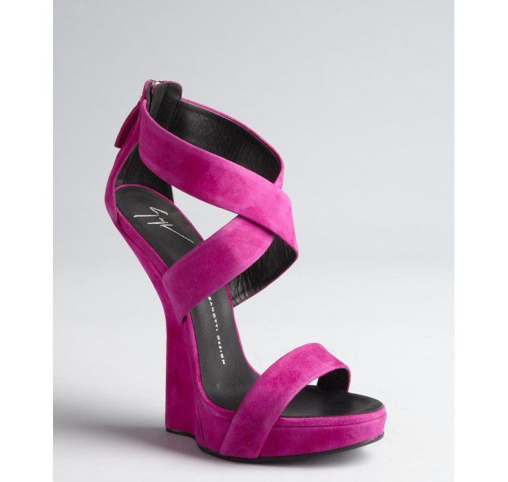 Giuseppe Zanotti Hot Pink Suede Hi Wedge Alien Sandals In