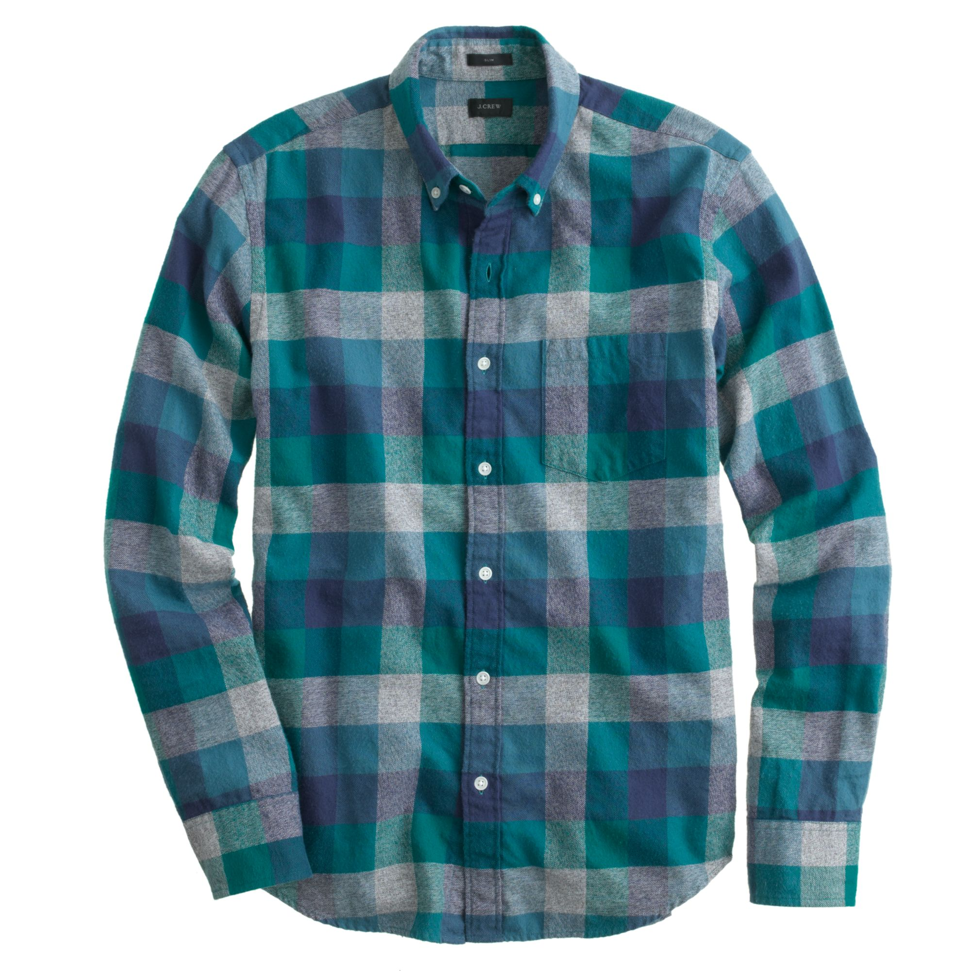 Slim brushed twill shirt in jasp heathered plaid for Brushed cotton twill shirt