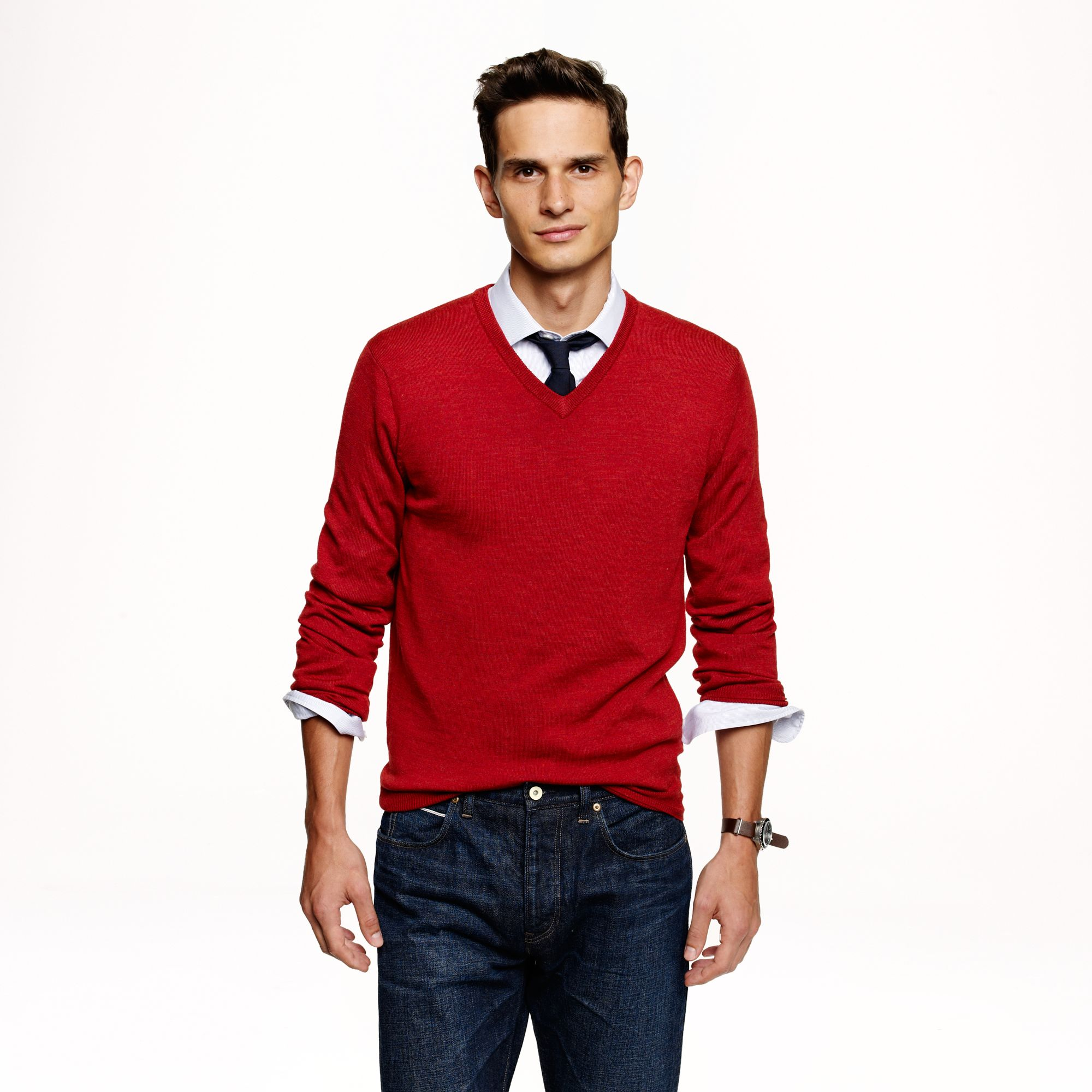 J.crew Slim Merino Wool V-neck Sweater in Red for Men | Lyst