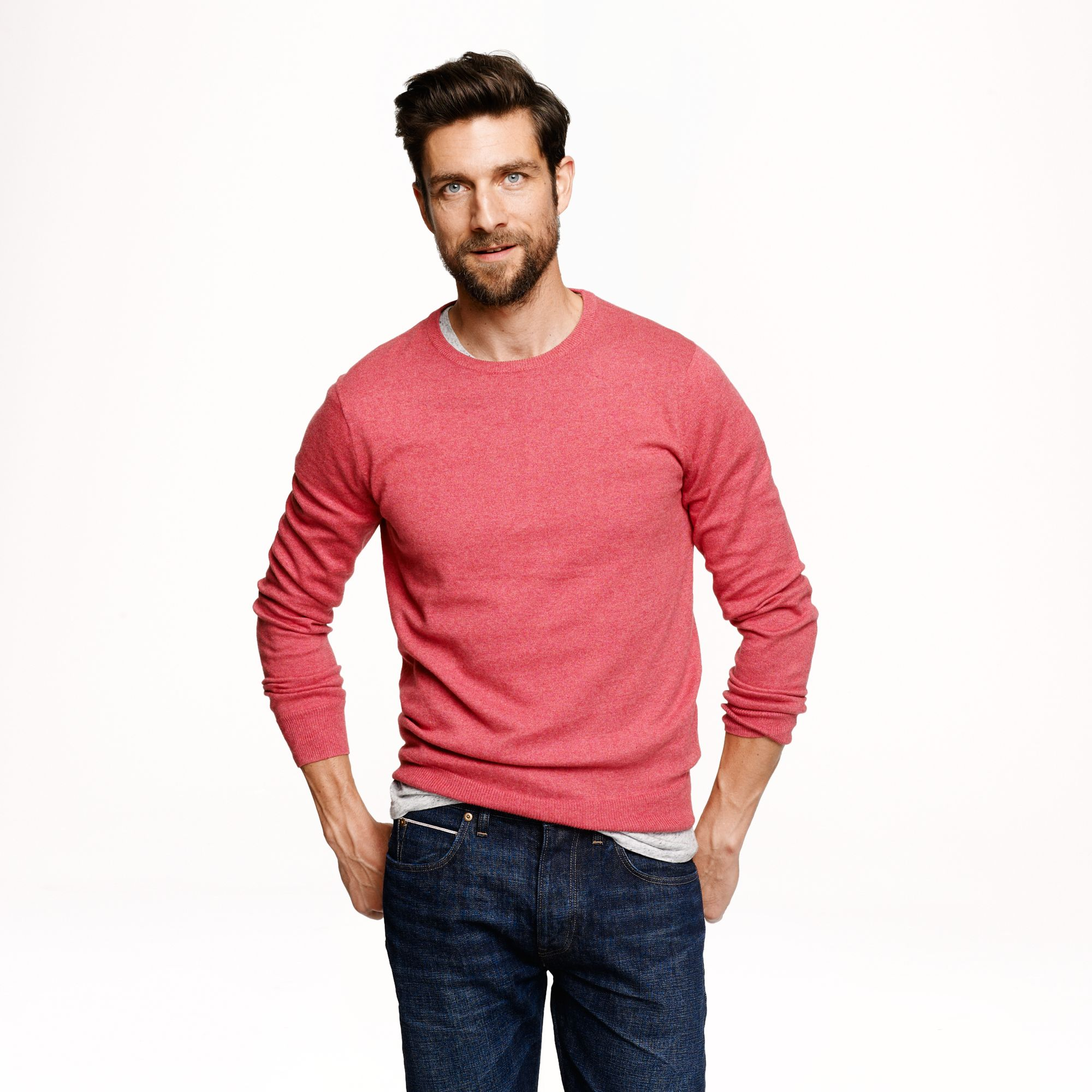 96418785d9a4 Lyst - J.Crew Tall Cotton cashmere Crewneck Sweater in Red for Men