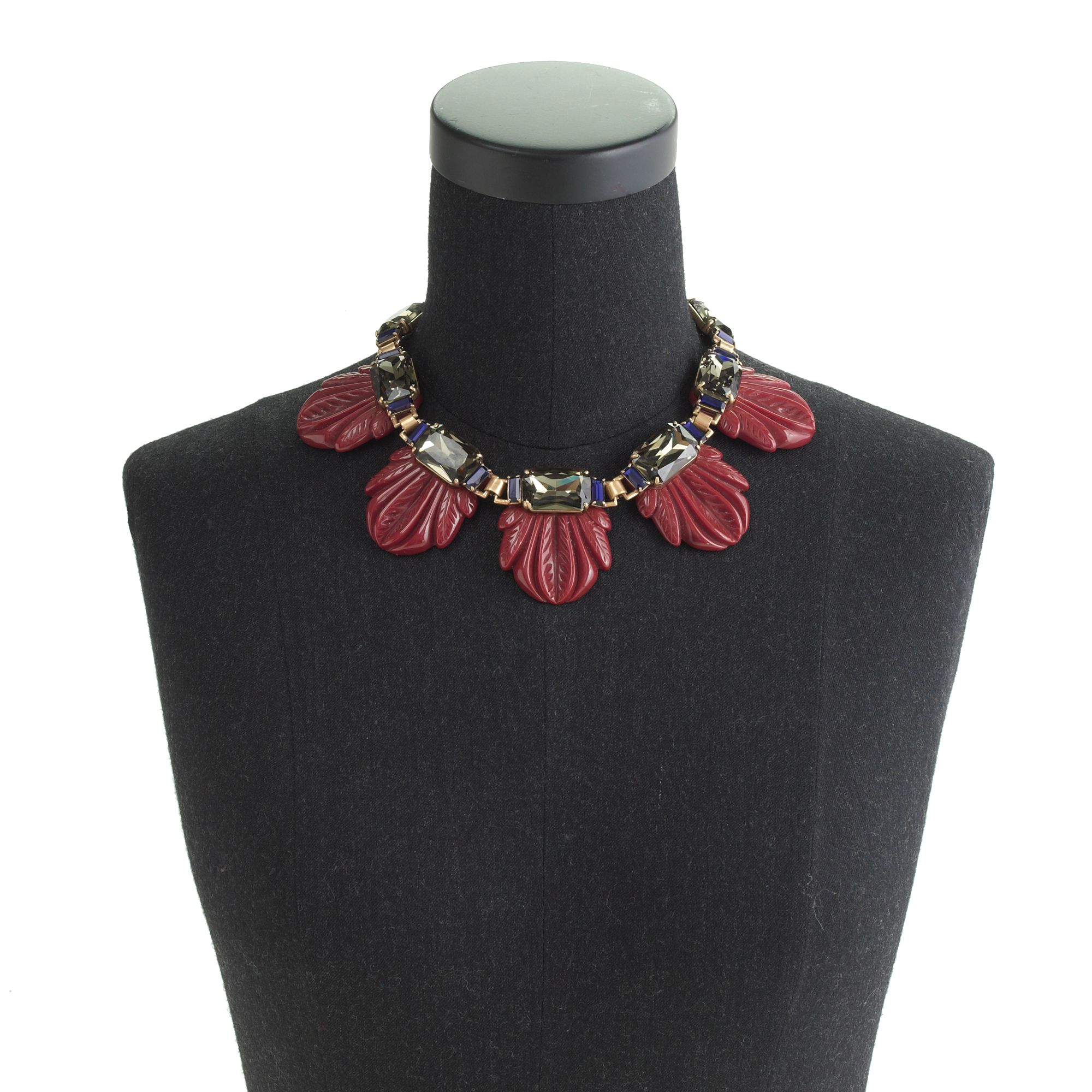 J.Crew Fanned Leaf Necklace in Red