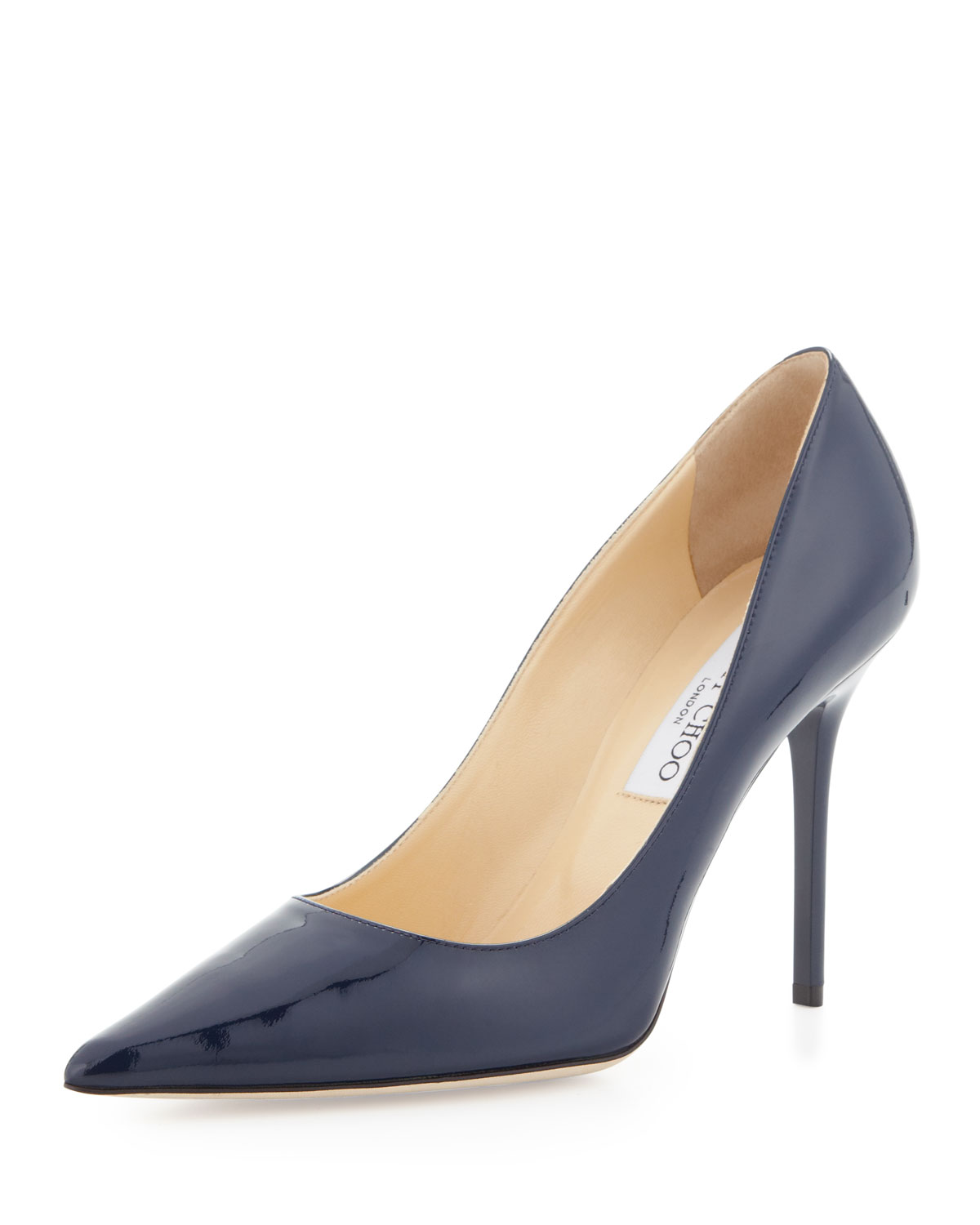ca4b304bb165 ... sale lyst jimmy choo abel patent pointtoe pump navy in blue 3e013 bda21