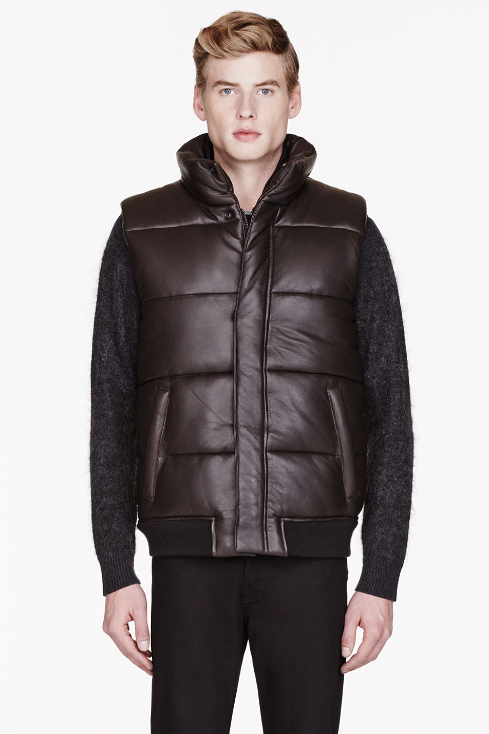Marc By Marc Jacobs Brown Leather Quilted Vest In Brown