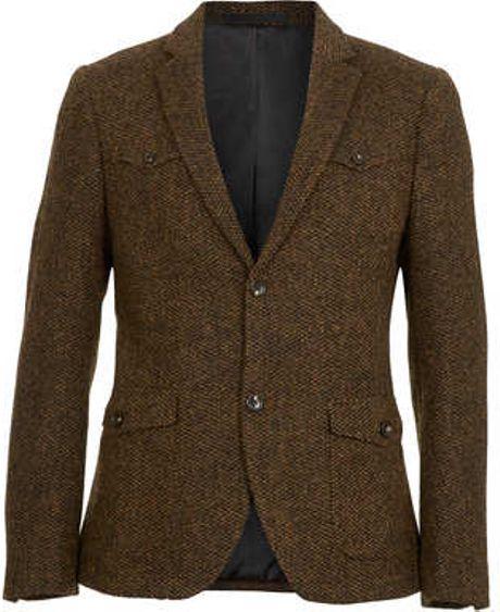 Topman Harris Tweed Brown Blazer In Brown For Men Lyst