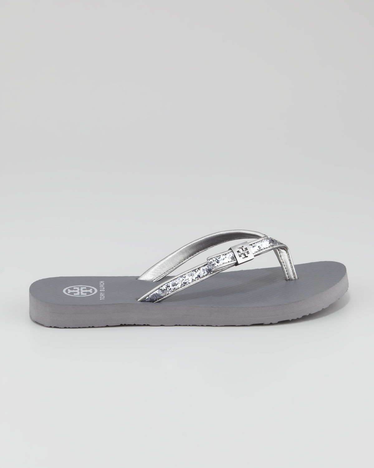 27a221cc4 Lyst - Tory Burch Carey Glitter Flipflop Pewter in Gray