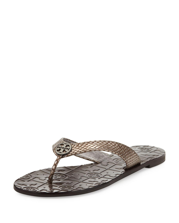 Lyst Tory Burch Thora Leather Snake Print Thong Sandal