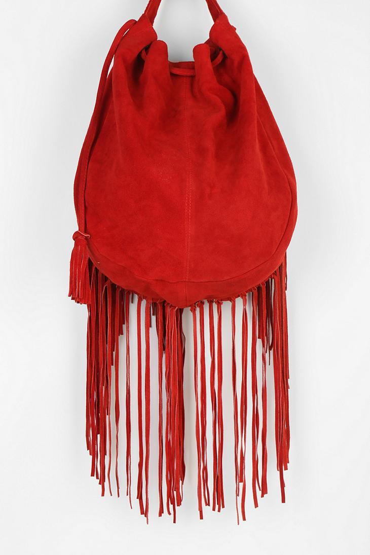 ecote suede fringe shoulder bag in lyst
