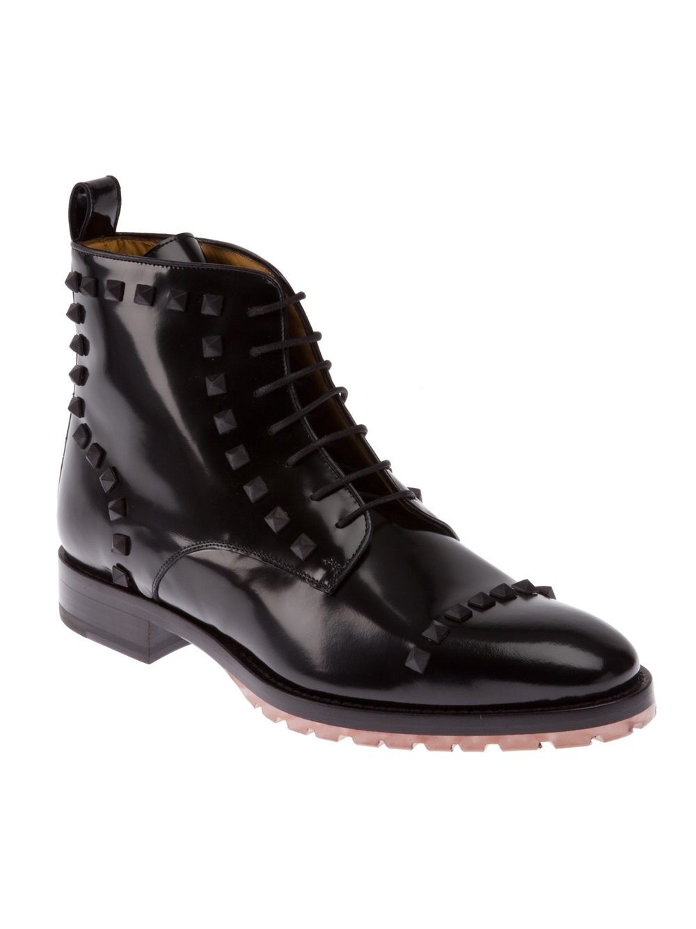 valentino studded ankle boot in black for lyst
