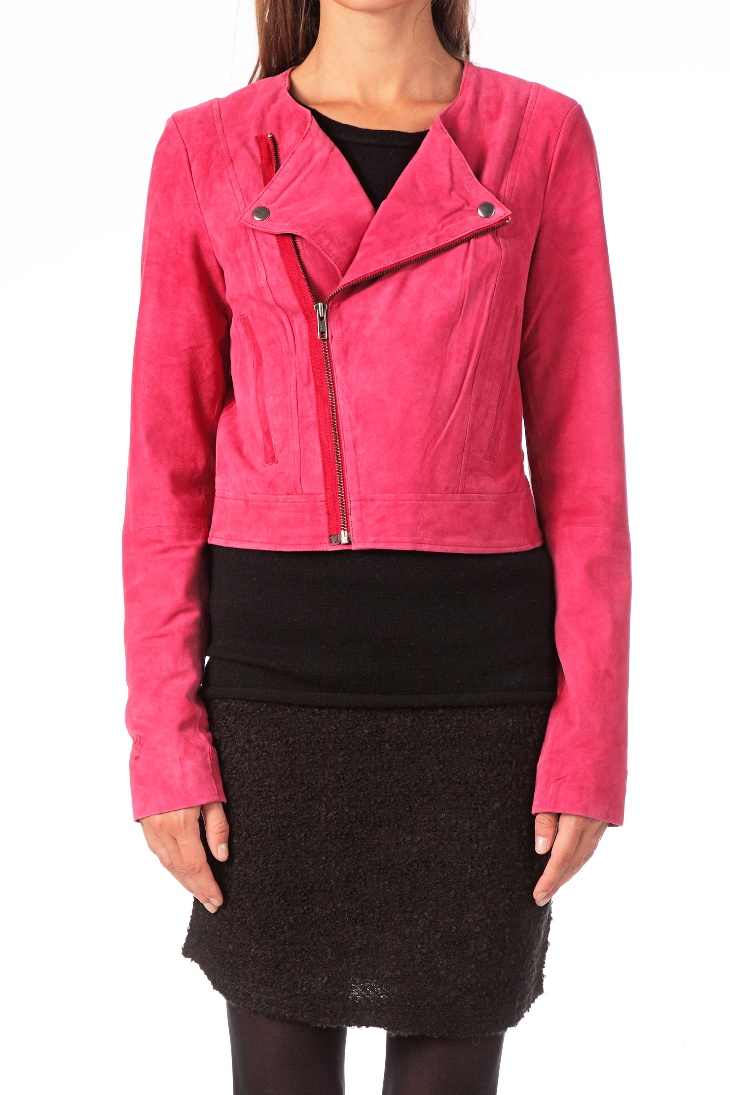 vero moda very leather niky suede jacket exp in pink lyst. Black Bedroom Furniture Sets. Home Design Ideas