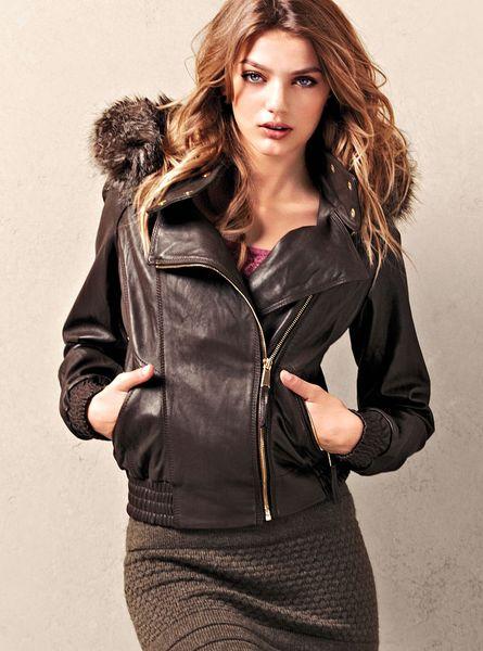 Victoria S Secret Leather Bomber Jacket In Black Cognac