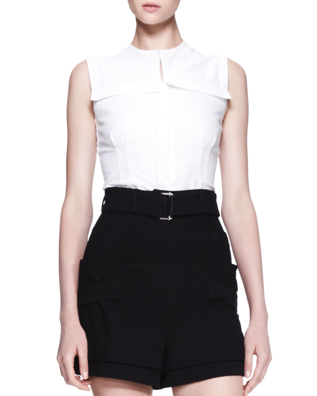 2c3328a520b0f5 Lyst - Alexander McQueen Fitted Sleeveless Poplin Blouse White in White
