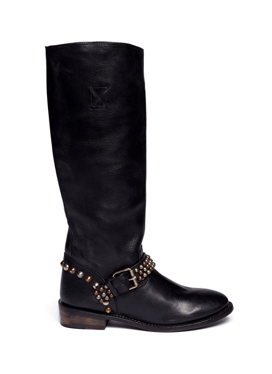 ash verity studded leather boots in black lyst