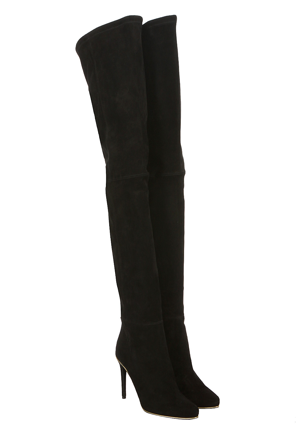 balmain black suede thigh boots in black lyst