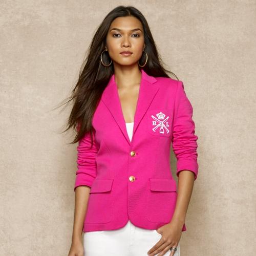 d0ab15b6010 Lyst - Ralph Lauren Blue Label Crested Jersey-knit Blazer in Pink