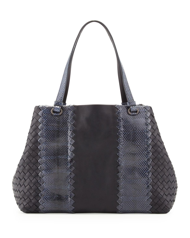 Lyst bottega veneta snake napa leather tote bag in gray - Mobili bottega veneta ...