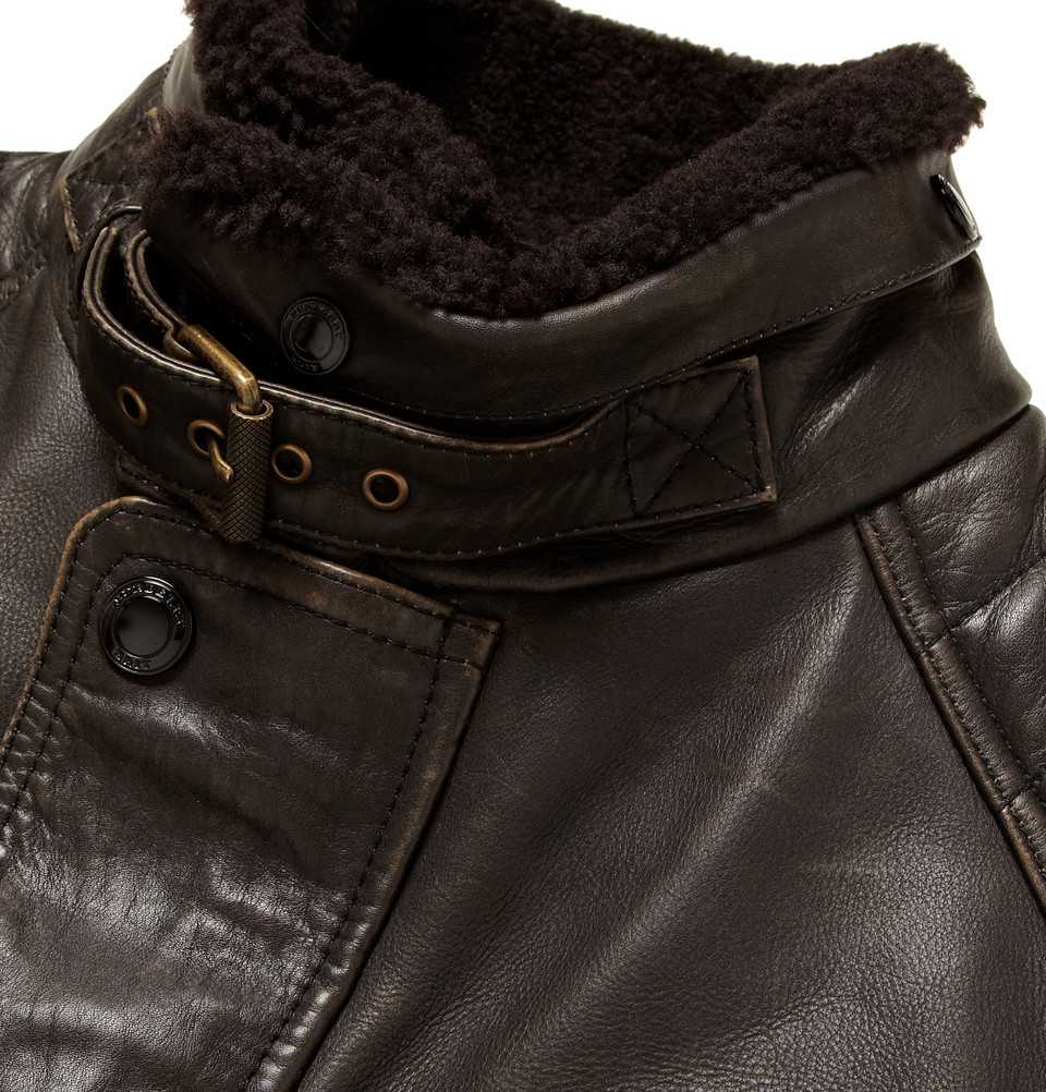 Burberry Brit Leather Motorcycle Jacket In Brown For Men
