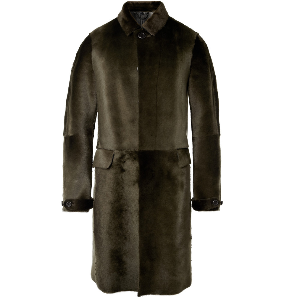 Burberry Prorsum Shearling Coat In Green For Men Lyst