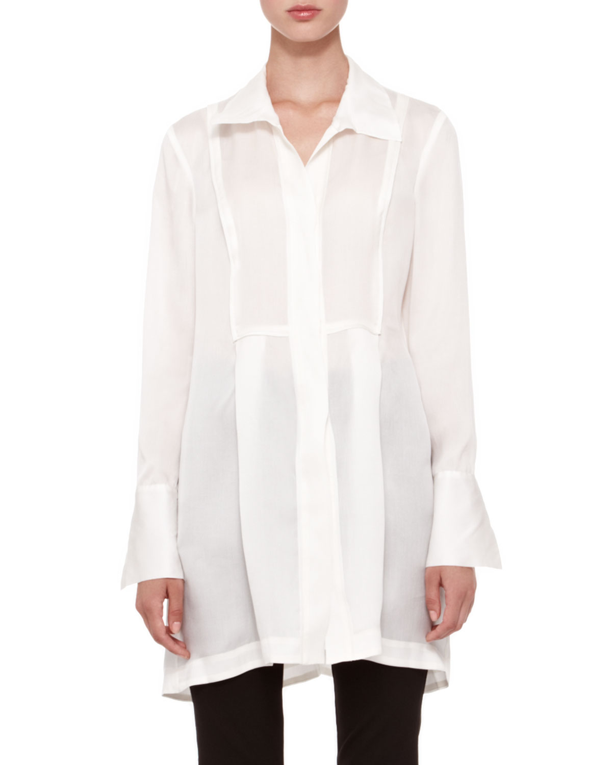Donna karan Long-Sleeve Tunic Blouse in White | Lyst