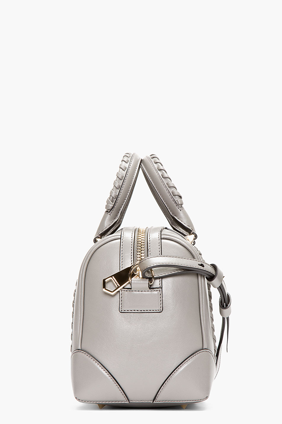 Givenchy Grey Braided Leather Lucrezia Small Duffle Bag In